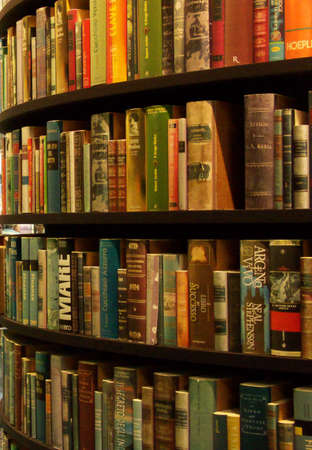 tall circular bookshelves, picture taken at a books expo Stock Photo - 927935