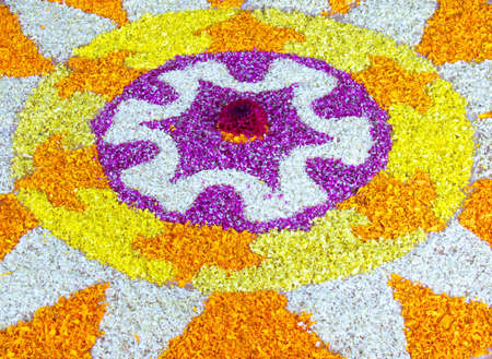 Flower decoration at indian home in kerala for onam festival celebration Stock Photo