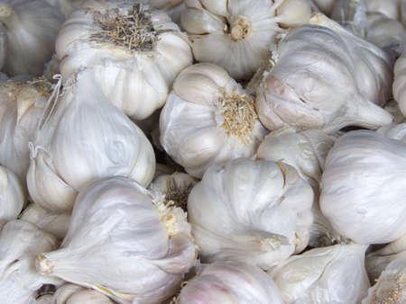 garlic box in a street market close-up  Stock Photo