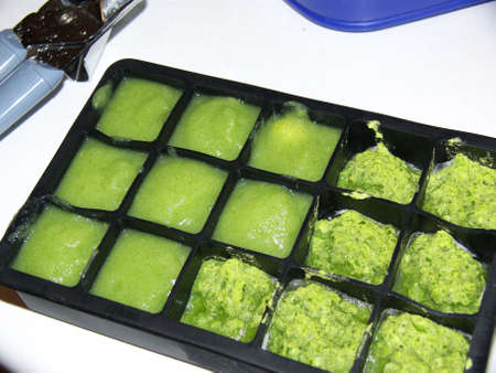 home made  food in ice cube tray