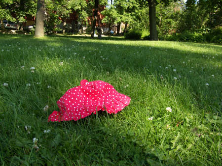 child hat abandoned on the grass in a park