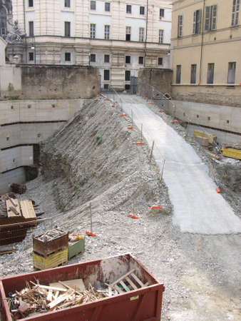 underground parking construction site in town Stock Photo