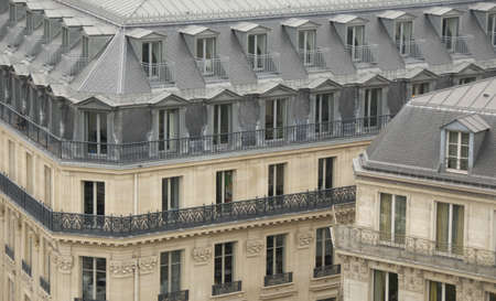 characteristic: Paris buildings with characteristic roofs and balconies