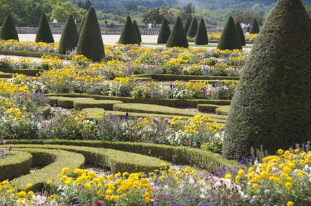 Detail of formal gardens at Versailles Palace near Paris in France