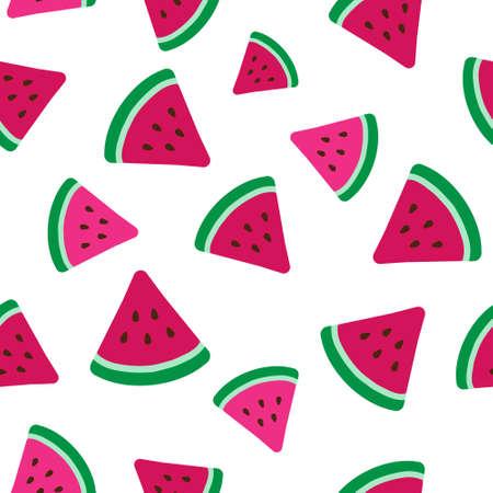 pink watermelon slices flat vector illustration seamless pattern