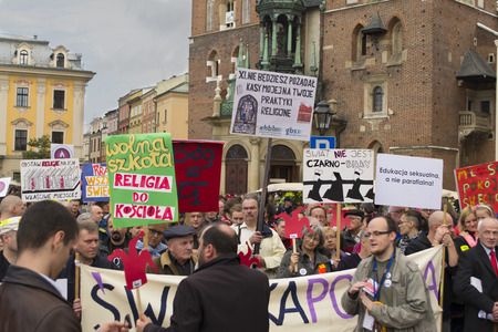 Demonstration against religion in school in Krakow, Poland Editorial