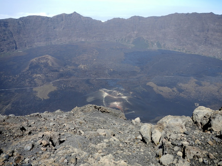 Aerial view of recent volcanic eruption