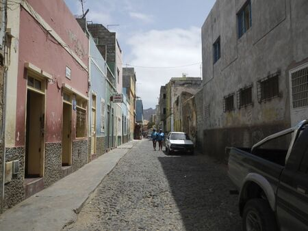 Street in African town of Mindelo, Cape Verde Editorial