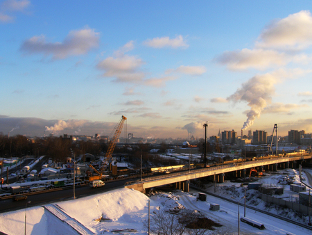 Sunset in industrial part of Moscow Standard-Bild