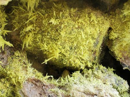 fumarole: Sulfur crystals in volcanic fumarole