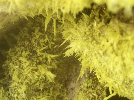 volcanic: Sulfur crystals in volcanic fumarole