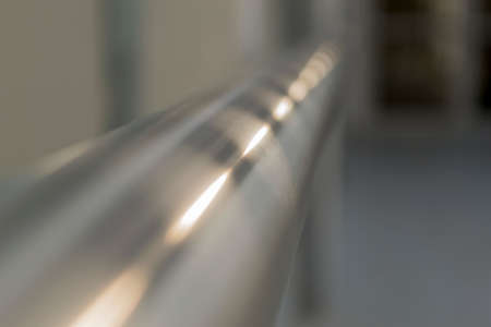 metal handrail: Sun reflection in metal handrail