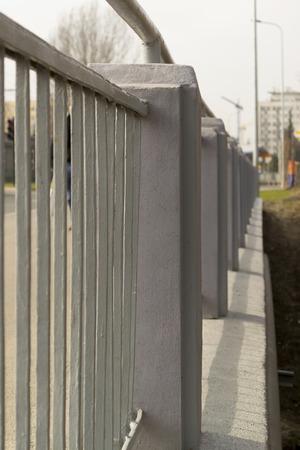 metal fence: Grey metal fence Stock Photo