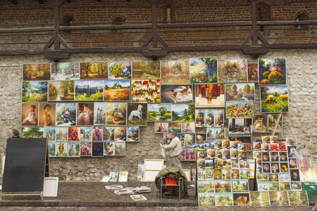 local festivals: Pictures on sale during local artisans fair in Krakow, Poland Editorial
