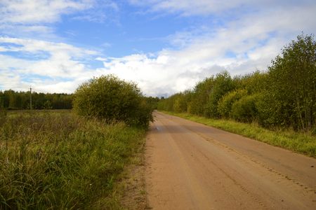 dirt: Straight dirt road in Russia Stock Photo