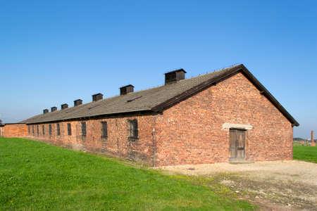 barrack: Red brick barrack in Auschwitz