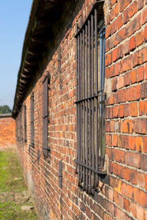 barrack: Red brick barrack in Auschwitz