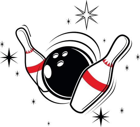 Vector illustratie van bowling artikelen