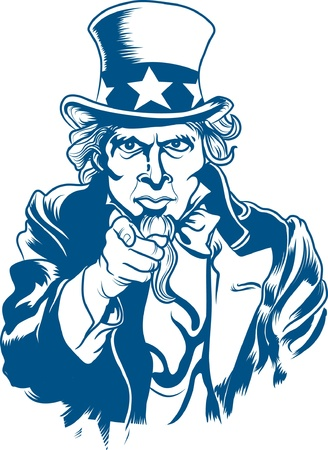 Vector illustration of Uncle Sam Çizim
