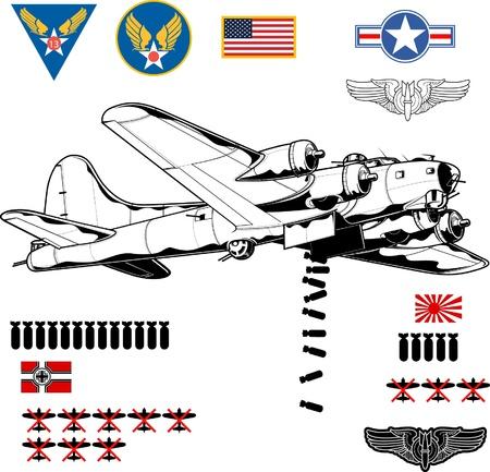 bombing: Vector illustratie van de Tweede Wereldoorlog bommenwerper Stock Illustratie