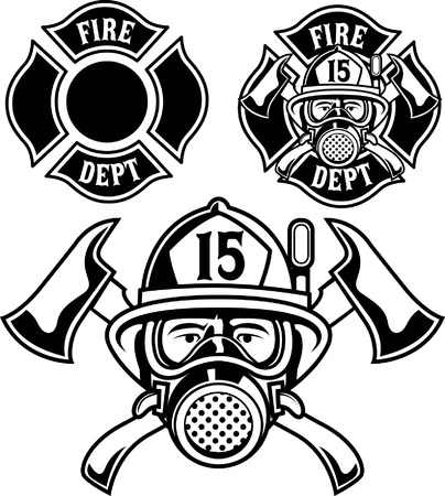 fire helmet: Vector firemen department emblem
