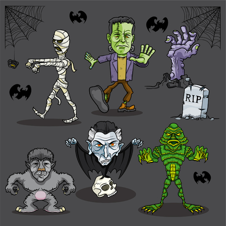 Vector illustration of fictional cartoon monsters Vector
