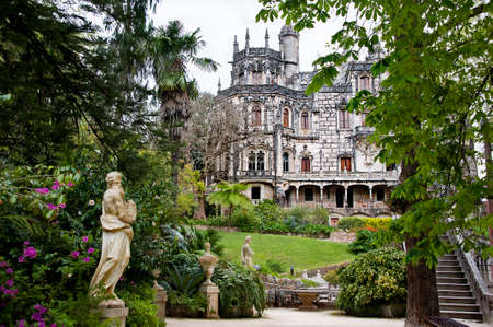 quinta: The palace of ?Quinta la Regaleira? viewed from the gardens, in Sintra, Portugal
