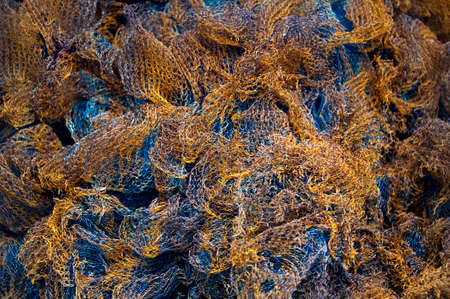 order chaos: A pile of blue and orange fishing nets forming a texture