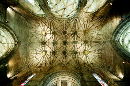 keystone light: Gothic vault with nerves and medallions in the church inside the Jeronimo?s Monastery in Lisbon