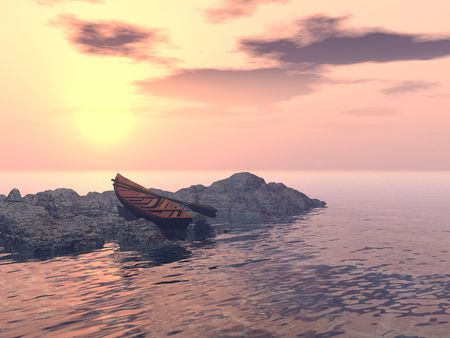 A lone rowboat is pulled up on a rocky outcrop, facing a magnificent glowing orange-pink sunset.
