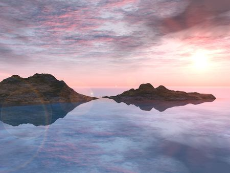 silent: Rocks and a perfect pink and purple sunset are reflected in an absolutely still lake surface.