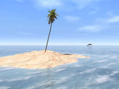 A single coconut tree towers over a patch of white sand, surrounded by the clear waters of a gorgeous tropical sea. A dolphin leaps in the distance.