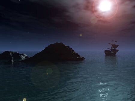 wistful: A pirate ship sails out to sea and away from a rocky outcrop, under a clear night sky and a full moon.