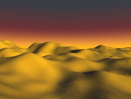 rolling landscape: Golden dunes of fine sand glow under an orange sunset.
