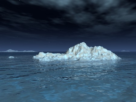 A moonlit iceberg drifts in a calm sea, underneath a starry sky and wispy clouds. Stock Photo