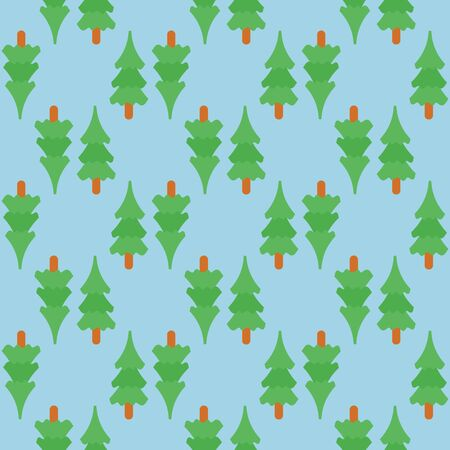 new year of trees: Seamless new year pattern with new year trees and  over the light blue background