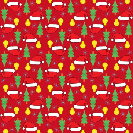 new year of trees: Seamless new year pattern with Santas hats, new year trees, balls, snowflakes over red background. New year background Illustration