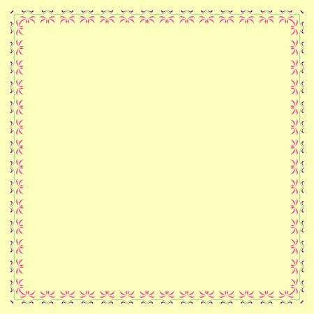 pink green: Marco de color floral con elementos de color rosa, verde y morado y sobre el fondo amarillo Vectores