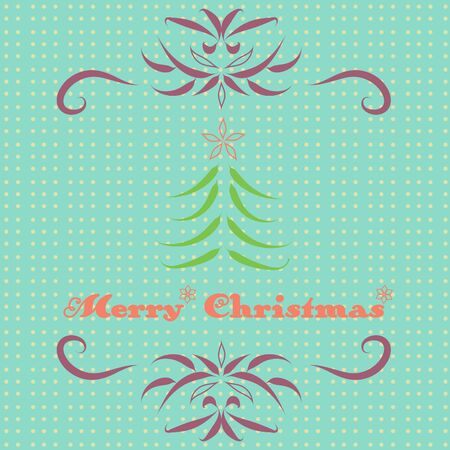 merry chrismas: Merry Christmas retro card with calligraphic elements, over light blue background Illustration