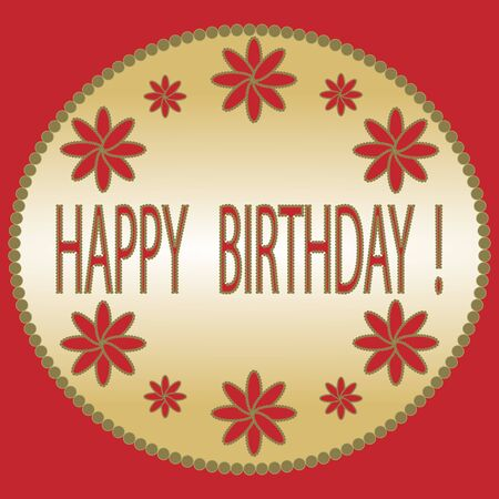 decorative frame: Happy birthday card with floral design, decorative frame in red and yellow colors