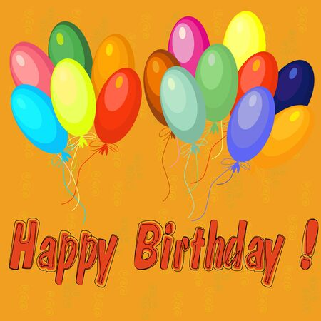air baloon: Colorful happy birthday card with air balloons over the orange background