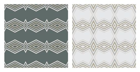 with sets of elements: Set of 2 seamless geometric pattern over the grey background. Geometric background Illustration