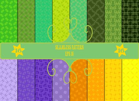 patternbackground: Set of 16 seamless patterns, abstract design, in green, orange, yellow and blue colors. EPS 10.