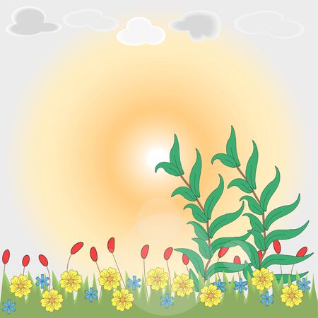 grey sky: Floral illustration with sunset and meadow. EPS 10.