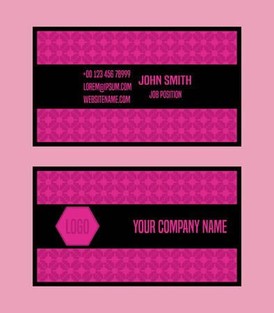 pink and black: Business card design,bright pink and black colors