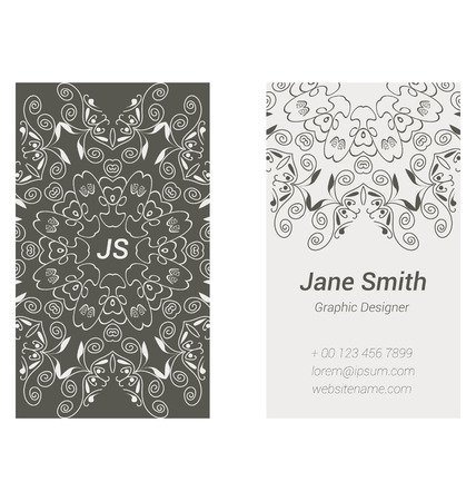 name calling: Two-sided business card design in grey colors