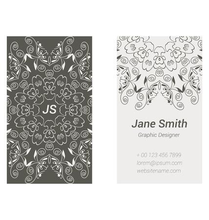 personalausweis: Zweiseitige Visitenkarten-Design in grauen Farben