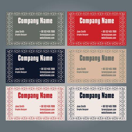 Set of one-sided business card design.6 variations of color. Illustration