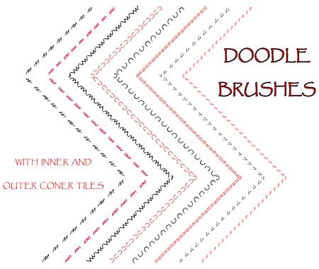 garabatos: cepillos. Doodle cepillos. cepillos de tinta. bordes decorativos, separadores, frames.Set. Vectores