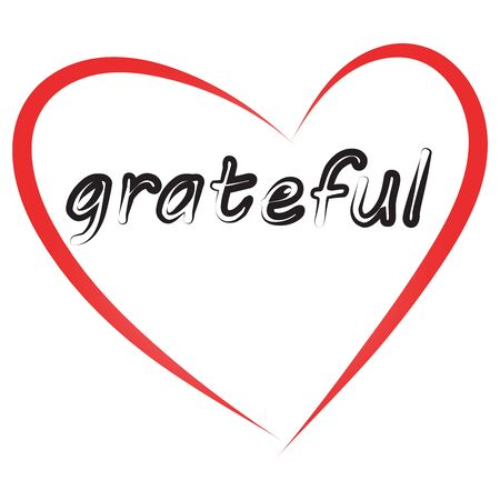 Grateful letter. Red heart border.Lettering.